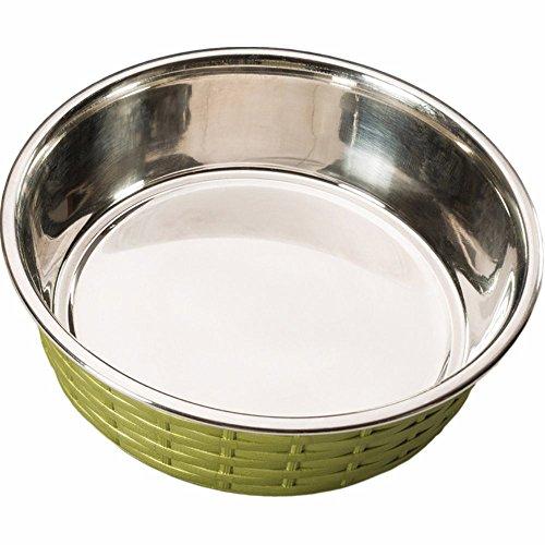 Ethical Pets Soho Basket Weave Stainless Dog Dish, 30 oz, Green