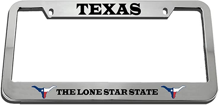 Chrome 2 Holes Speedy Pros Texas The Lone Star State Zinc Metal License Plate Frame Car Auto Tag Holder