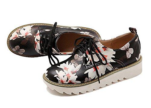 Frauen Heels Schuhe Schnür Round Odomolor Toe PU Farbe Pumps schwarz sortierte Low 6wxvc6q7dX