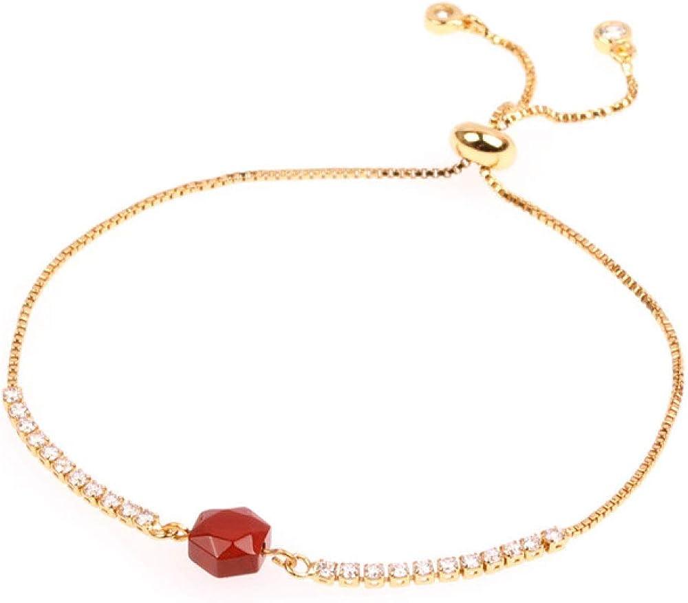 XVCHQIN Pulseras, Hermosa Pulsera, Pulsera de Perlas de Piedras semipreciosas, Inserto de Cadena de Cobre de Color Dorado para Mujer Pulseras de Diapositivas de Cristal