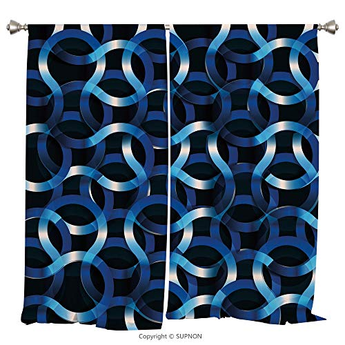 Rod Pocket Curtain Panel Thermal Insulated Blackout Curtains for Bedroom Living Room Dorm Kitchen Cafe/2 Curtain Panels/108 x 84 Inch/Dark Blue,Curvy Shaped Entangled Complex Industrial Modern Mesh Ma