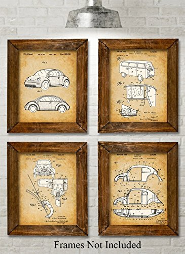 Volkswagen Beetle - Set of Four Photos (8x10) Unframed - Great Gift for VW Fans - Vintage Volkswagen Beetle