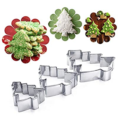 Cake Molds - 3pcs Pack Cookie Cutters Stainless Steel Christmas Trees Shaped Biscuit Chocolate Mold Bakeware - Vehicles Helmet Indian House Mason Dress Rocket Maker Engagement Alphabet Jun