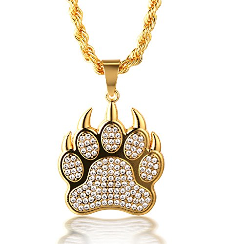 - Halukakah Premium ● Gang ● Men's 18k Real Gold Plated Sharp Claw Paw Pendant Artificial Diamond Set Necklace with Free Rope Chain 30