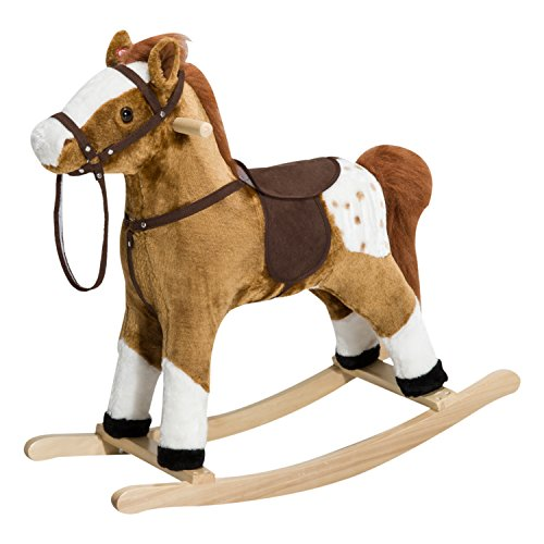 Brown Rocking Horse - Qaba Kids Plush Toy Rocking Horse Pony with Realistic Sounds - Brown