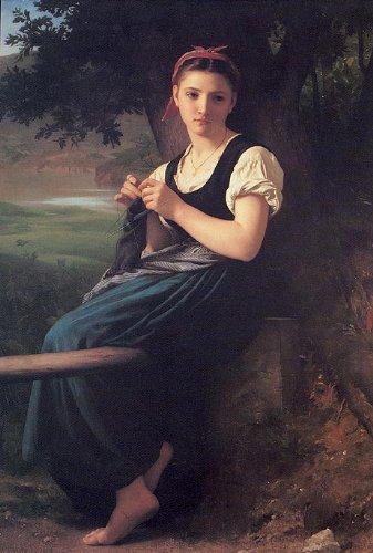 Bouguereau La tricoteuse The Knitting Girl, 1869 Canvas Art Print Reproduction