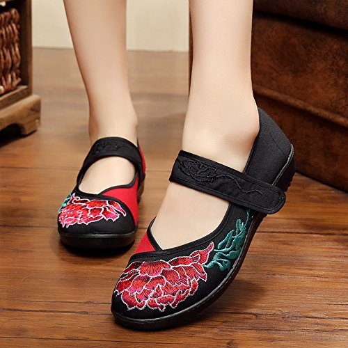 KHSKX-In The Folk Style Of Female Embroidered Shoes With Thick Soles Muffin Old Beijing Shoes Light Mother Square Dance Shoes Black Forty lUuoj