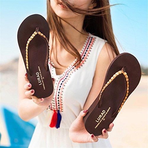Pantoufles extérieure Talons Tongs 38 EU Plate Compensées de Hauts Brown Brown Angel Color Plage Wedge Sandales et Lady Forme beauty à Size love xZnnAPqw0f