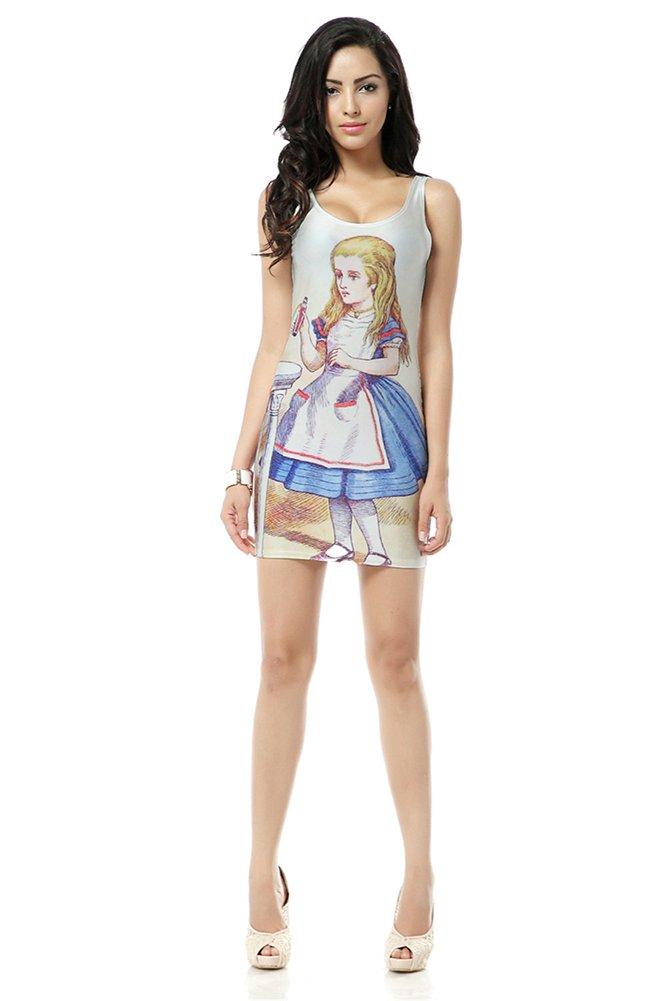 Summer Cute Cartoon Girl Print Sexy Tank Dress White Women's Sleeveless Elastic Novelty Dress Mini