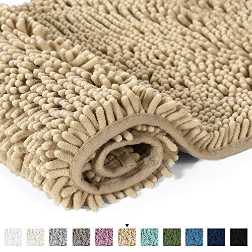 H.VERSAILTEX Ultra Soft Texture Chenille Plush Bath Rugs Floor Mats, Hand Tufted Bath Rug Non Slip Microfiber Door Mat for Kitchen/Entryway/Living Room, 32 by 20 inches, Beige ()