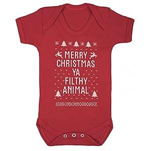 Red Merry Christmas Ya Filthy Animal Baby vest grow onesie (3-6 ...