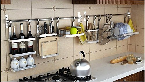 Kitchen Cookware Organizer Stainless Steel with Pot rack Lid Holder Spice Rack Wine Rack Knife Block Chopping Board Holder Flatware Utensils Caddy Dish Drying Rack 6 Utility Hooks Wall Mounted by LOUHO