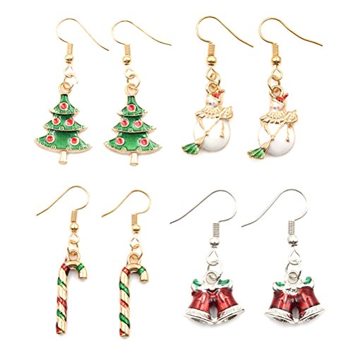 4 Pairs Christmas Dangle Earrings Set Colorful Santa Pattern Cute Jewelry Sets for Christmas Holiday Gift (Pattern Earring Santa)