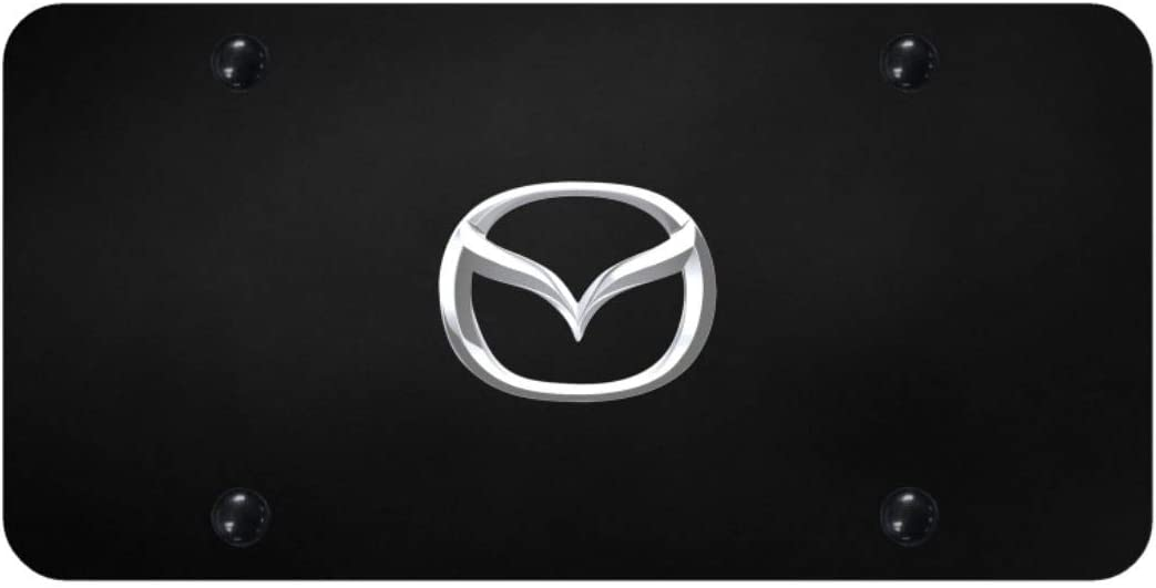 Mazda Logo Powder Coated Black Gloss License Plate Frame Tag Stainless Steel
