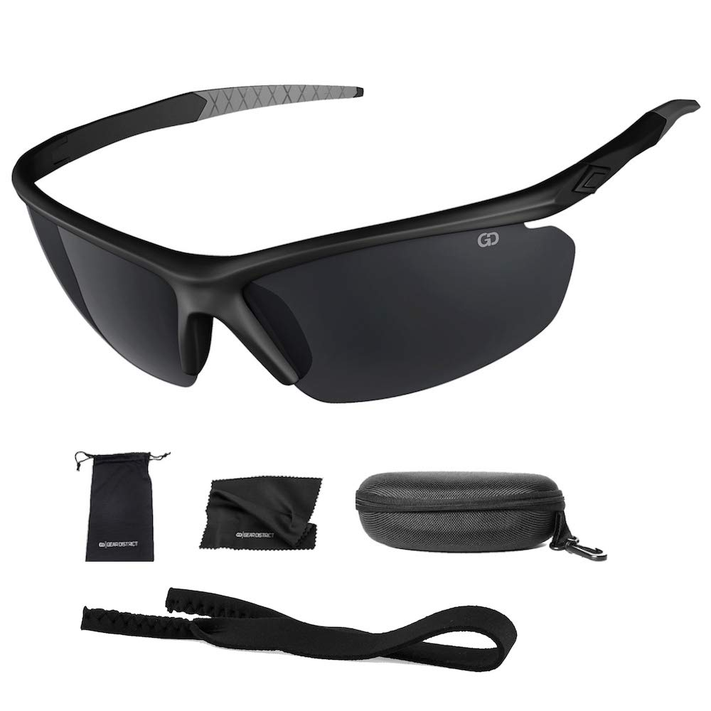 Polarized UV400 Sport Sunglasses Anti-Fog Ideal for Driving or Sports Activity (Black, Grey) by Gear District