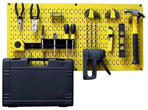 Wall Control Modular Pegboard Tool Organizer System - Wall-Mounted Metal Peg Board Tool Storage Unit for Pegboard Tiling (Yellow Pegboard)
