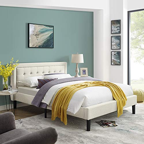 Mornington Upholstered Platform Bed | Headboard and Metal Frame with Wood Slat Support | Linen, Queen