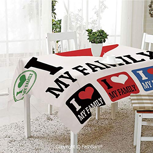 AmaUncle 3D Print Table Cloths Cover Signs and Labels I Love My Family Emblems Stamp Colorful Retro Classic Composition Resistant Table Toppers (W60 xL84) ()