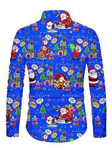 ... Vacances Funnycokid Imprimé avec Style Longue Manche Hawaïenne Noël  Bleu Chemises Bouton Chemise Homme Hommes ArqBA0 ce3c7cb9164c