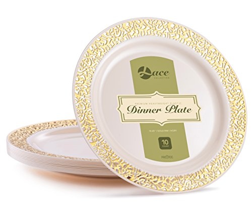 LACE PLASTIC PARTY DISPOSABLE PLATES | 10.25 Inch Hard Round Wedding Dinner Plates | Ivory with Gold Rim, 20 Pack | Elegant & Fancy Heavy Duty Party Supplies Plates for Holidays & Occasions