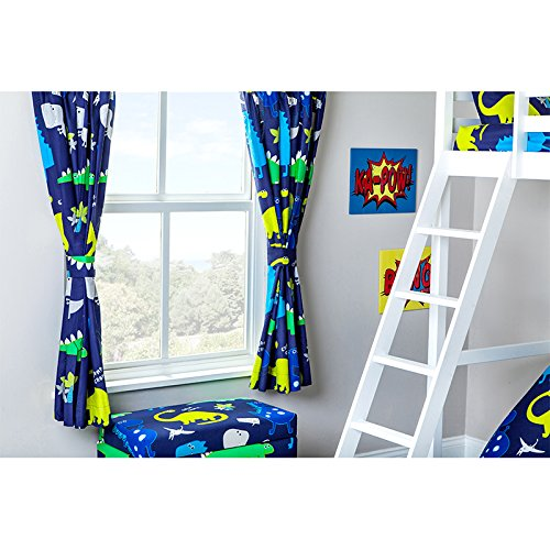 Ready Steady Bed Curtains 66 x 72 Dinosaurs In the Dark with Tie Backs