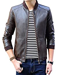 Tanming Men's Zip Up Faux Leather Varsity Bomber Jacket