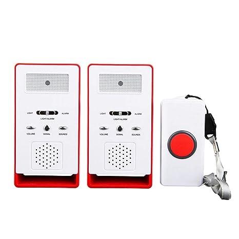 FUNRUI Haus Wireless Mobiler Alarm Notruf Knopf Pflegeruf-Set Hausnotruf Panikalarm Funkalarm für Pflegebedürftige Geduldig Ä