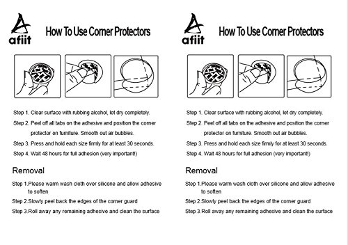 AFIIT- Clear Corner Guards Clear Corner Furniture Protectors Baby Proofing from Furniture Sharp Edges Child Safety Corner Cushions Bumper Head Injury Protection Quick Easy to Use Pre-Stick Adhesive by AFIIT (Image #8)