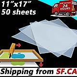 11'' x 17'',50 Sheets, Premium Waterproof Inkjet Instant Dry Transparency Film for Silk Screen Printing