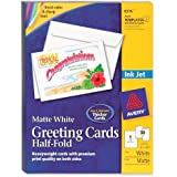 Avery Half-Fold Greeting Cards for Inkjet Printers, 5.5 x 8.5 Inches, White, Box of 30 (8316)