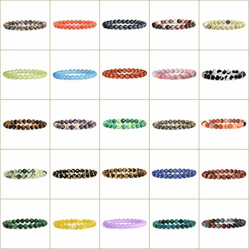Justinstones Gem Semi Precious Gemstone 8mm Round Beads Stretch Bracelet 7 Unisex