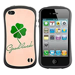 Hybrid Anti-Shock Bumper Case for Apple iPhone 4 4S / Good Luck Message
