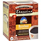 Teeccino Herbal Coffee Hazelnut - 10 Tea Bags - Case of 6 - 70%+ Organic - Gluten Free - Dairy Free - Yeast Free - Vegan - Naturally caffeine free - Non-acidic - Prebiotic
