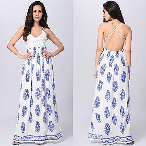 Fiesta Vestido De Irregulares Profunda De U Fiesta Encaje Blue Mujer JIALELE Para Vestido Halter Costuras Péndulo Vestidos Mujer Costura qIadIw