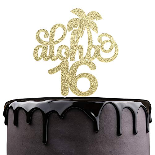 Aloha 16th Birthday Cake Topper - Gold Glitter Sixteen Years Wedding Anniversary Supplies - Cheers To Sweet 16 - Hawaii Tropical Party Coconut Tree Decoration