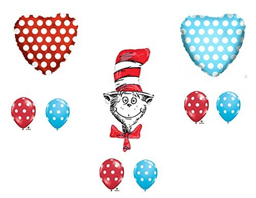 (9 pc. Dr. Seuss The Cat In The Hat Happy Birthday Balloons Decoration Supplies Party Baby Shower)
