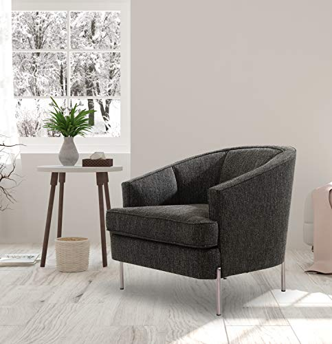 Square Barrel Chair - Iconic Home FCC9376-AN Astoria Club Chair Barrel T-Shaped Seat Cushion Design Linen-Textured Upholstery Vertical Channel-Quilted Tight Back Espresso Solid Metal Legs Modern Transitional, Black