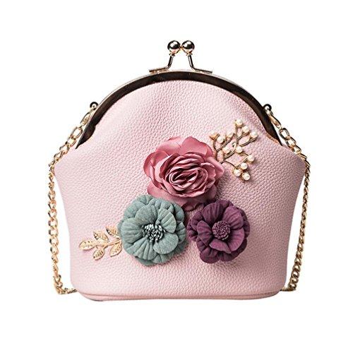 Crossbody Purse Handbag Women Gift Pink Bag Stereo Bag Small Ladies Tote Bag Flowers Fashion LMMVP by Shoulder OqHdXBwH