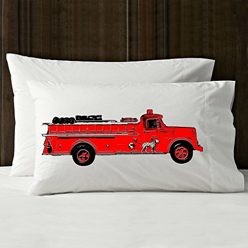Red Vintage Fire Engine Pillowcase (2 for 20) ()