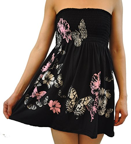 Chocolate Pickle  New Womens Floral Print Boob Tube Top (1X, Black (Butterfly Tube Dress)
