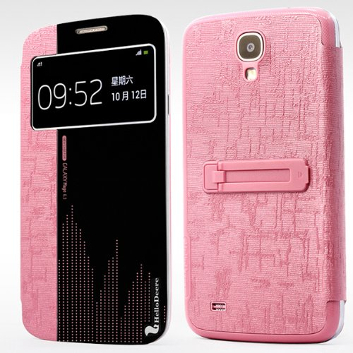 Easygoby Luxury Ultrathin View Window Protective Flip Cover Case with Kickstand & Auto Wake/ Sleep Smart Case For Samsung Galaxy Mega 6.3 i9200 i9208 i9205 - Pink