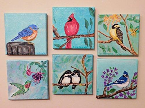"Set of 6 Original Acrylic Paintings, Most Popular Birds, Signed, ea. 6""x 6""; Wall Art Birds, Wall Decor, Wall Hanging,Living Room Art"