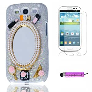 Samsung Galaxy S3 III I9300 Mirror Comb Decoration Hard Cover Case Skin For Protection With Paster And Pink Stylus