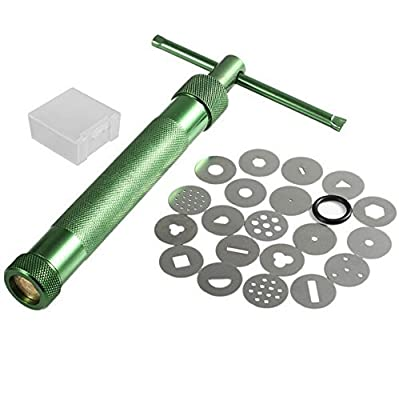 HCSC 20 Pcs Stainless Steel Green Crowded Mud Machine Polymer Clay Fimo Extruder Craft Gun Cake Fondant Sculpture Decorating Tool Set by Forti