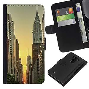 For LG G3 Case , York Empire Building Sunrise Sky - la tarjeta de Crédito Slots PU Funda de cuero Monedero caso cubierta de piel