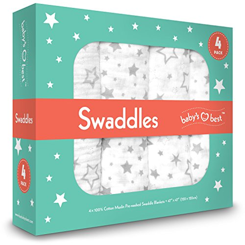Muslin Swaddle Blankets - Set of 4 - 100% Premium Quality