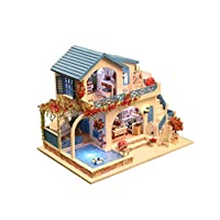 Rylai 3D Puzzles Miniature Dollhouse DIY Kit w/ Light - Blue and White Town Series Dolls Houses Accessories with Furniture LED Music Box Best Birthday Gift for Women and Girls