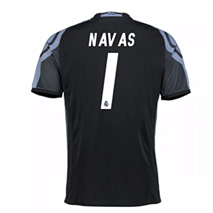 5d6da0f45ce Image Unavailable. Image not available for. Color: 2016-17 Real Madrid 3rd  Football Soccer T-Shirt Jersey (Keylor Navas 1