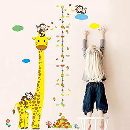 JEWH Cartoon Measure Wall Stickers for Kids Rooms Giraffe Monkey Height Chart Ruler Decals Nursery Home