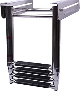 Hoffen Stainless Steel Telescoping 4 Step Ladder Under Platform Slide Mount Ladder Boat Boarding